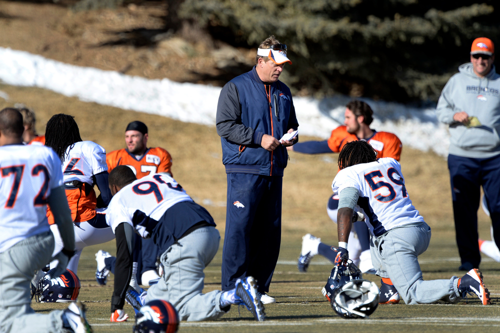 . Denver Broncos defensive coordinator Jack Del Rio talks with Denver Broncos outside linebacker Danny Trevathan (59) before practice January 8, 2014 at Dove Valley. The Denver Broncos are preparing for their Divisional Game against the San Diego Chargers at Sports Authority Field. (Photo by John Leyba/The Denver Post)
