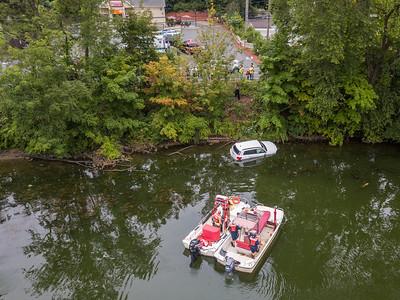 Truck in Housatonic River (Seymour, CT) 8/29/17