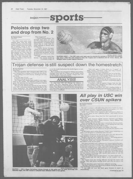 Daily Trojan, Vol. 105, No. 48, November 10, 1987