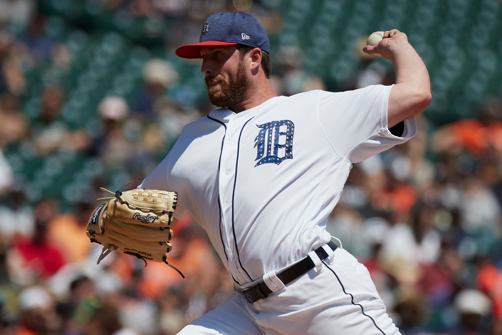 . Detroit Tigers relief pitcher Chad Bell pitches in the fourth inning against the Cleveland Indians of a baseball game in Detroit, Sunday, July 2, 2017. (AP Photo/Rick Osentoski)