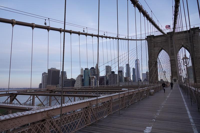 Towards southern Manhattan from the Brooklyn Bridge.