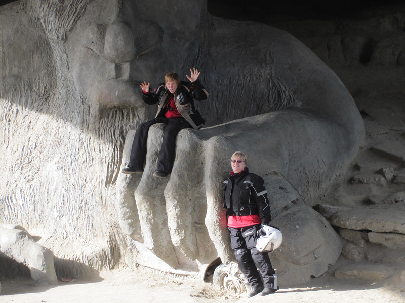 Amanda and Angela playing at the Fremont troll.