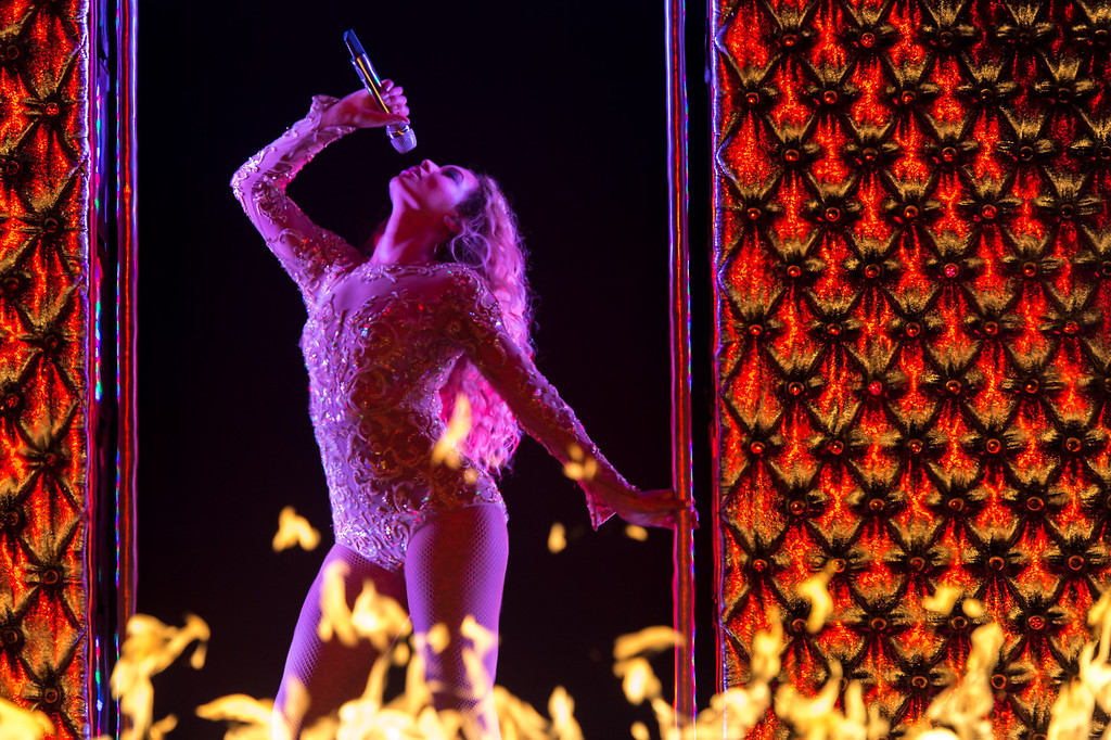 . Beyonce performs during the Australian leg of her \'BEYONCE - The Mrs Carter Show, World Tour, on Sunday, October 3 2013 in Sydney, Australia. (Photo by KRISTIAN DOWLING/Invision for Parkwood Entertainment/AP Images)