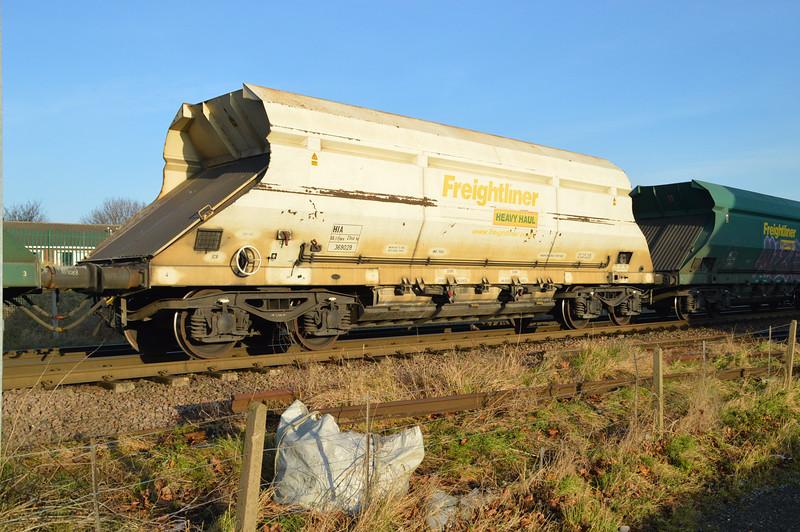 HIA 369029 Seen in 6m03 Eggborough-Tunstead rake passing Womersley Road crossing 28/12/14.