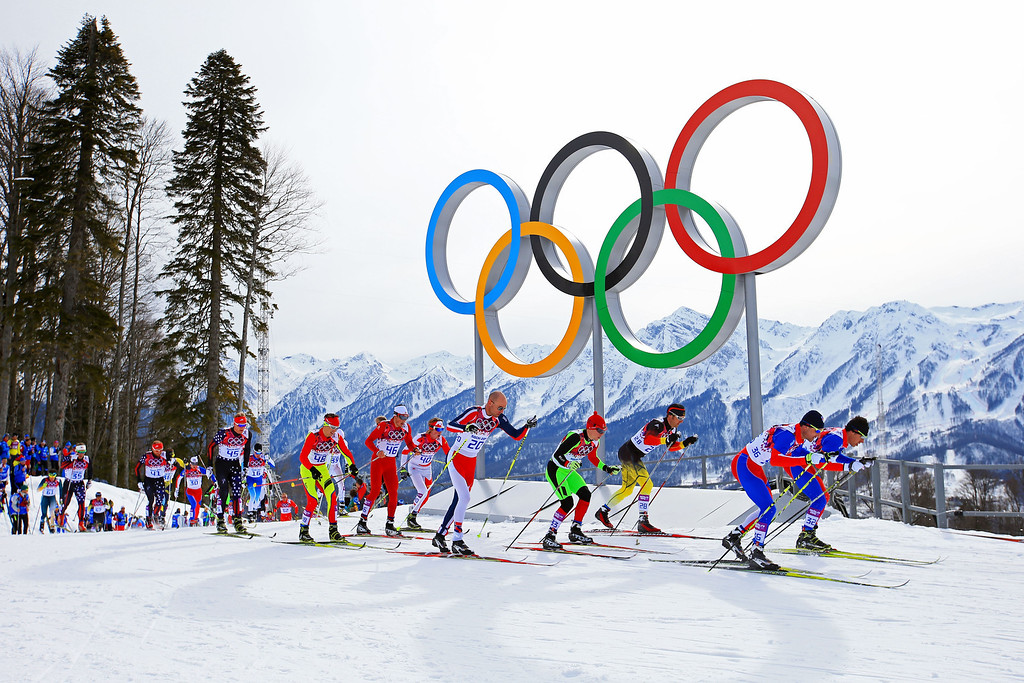 . SOCHI, RUSSIA - FEBRUARY 09:  Jiri Magal (2R) of the Czech Republic and Petr Novak (R) of the Czech Republic compete in the Men\'s Skiathlon 15 km Classic + 15 km Free during day two of the Sochi 2014 Winter Olympics at Laura Cross-country Ski & Biathlon Center on February 9, 2014 in Sochi, Russia.  (Photo by Richard Heathcote/Getty Images)