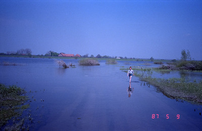 Appears that this kinder is fishing for some type of fish while walking the flooded area.  Note the guard tower, farm house and barn,  just on other side of the fence to the DDR.