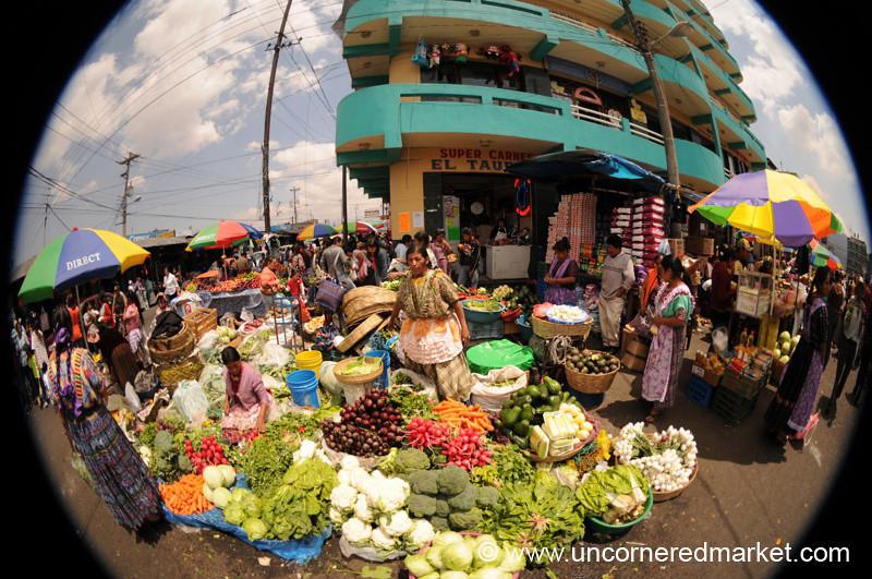 Fisheye Market Scene - Xela, Guatemala