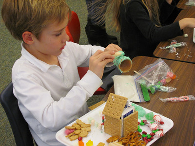First Graders Build Gingerbread Houses