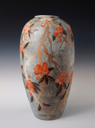 "Berry Branch Vase 15"" x 8"" x  8"" Cone 10 Wood Fired Porcelain"
