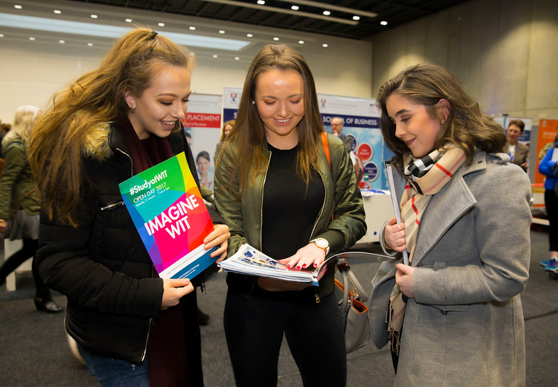 21/01/2017.  Waterford Institute of Technology (WIT) open day at WIT Arena. Pictured are Justine O'Meara, Laura Tierney and Katie Spillane from Nenagh, Co. Tipperary. Picture: Patrick Browne