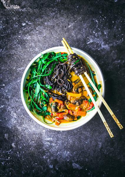 Vegan Thai recipes - Golden Coconut Curry Noodle Bowl