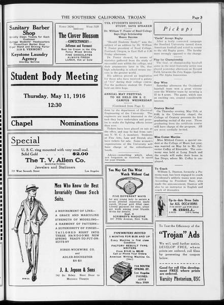 The Southern California Trojan, Vol. 7, No. 113, May 09, 1916
