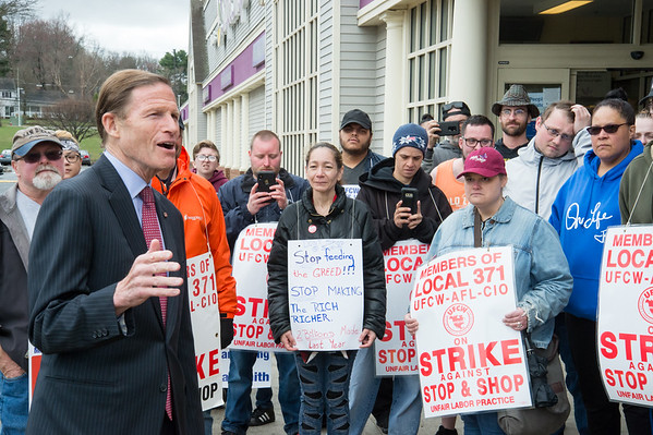 04/15/19 Wesley Bunnell | Staff Senator Richard Blumenthal visited area Stop & Shop Supermarkets on Monday afternoon speaking to striking workers on the importance of not just protecting their jobs but helping to uphold other jobs in the middle class. Senator Blumenthal speaks to a large crowd of strikers including Susan Piper, middle, during his visit to the Bristol Stop & Shop on Pine St.