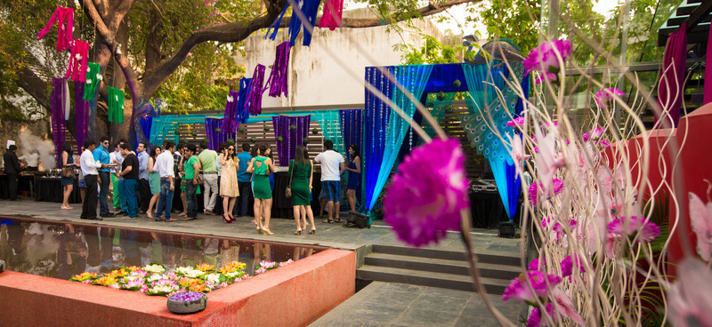 Aditi + Keerti's Peacock themed engagement party held at The Park Pod. Photo by Shannon Zirkle.