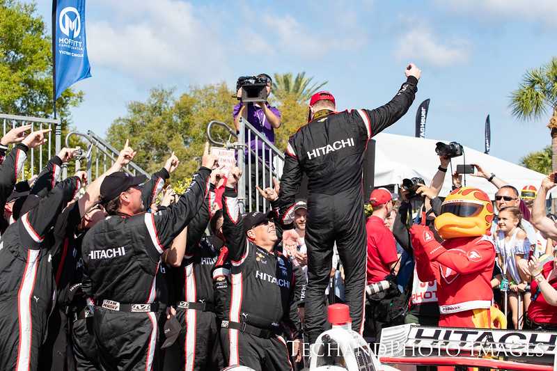 Josef Newgarden celebrates the win in Victory Lane at The Firestone Grand Prix of St Petersburg held on Sunday  March 10th