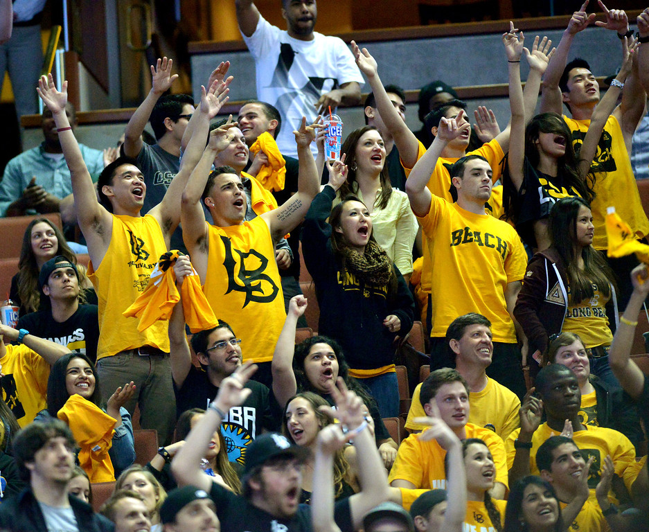 . 03-14-2013--(LANG Staff Photo by Sean Hiller)- Long Beach State beat Cal State Fullerton 75-66 in Thursday\'s men\'s basketball first round game of the Big West Conference Basketball Tournament at the Honda Center in Anaheim.