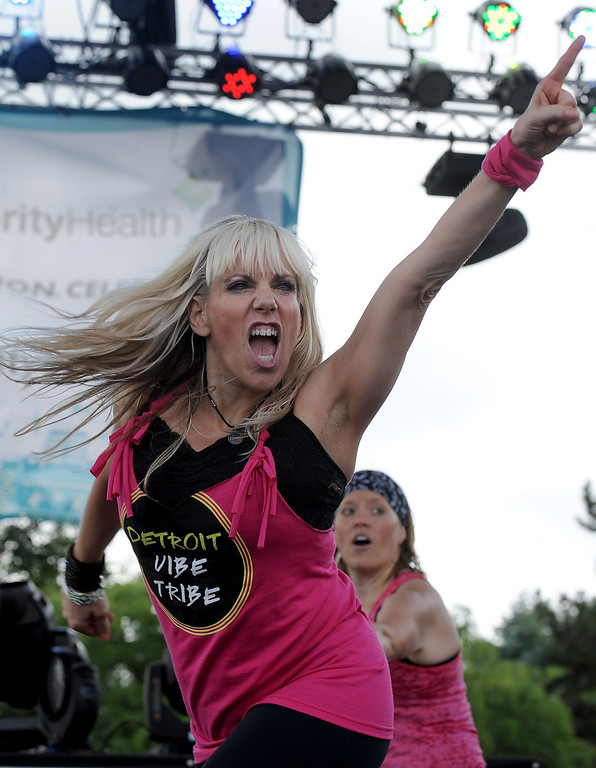 . Cindy DeBiasi of Allen Park dancing with the Detroit Vibe Tribe at Arts Beats & Eats. (Daily Tribune/DAVID DALTON)