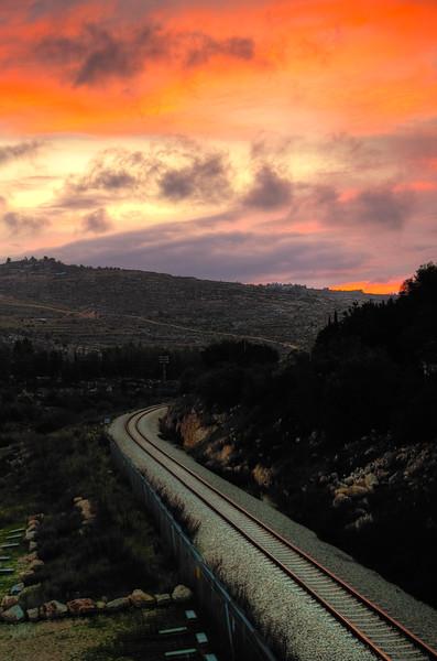 FIREY SKY AND ORANGE TRACKS, Jerusalem Israel