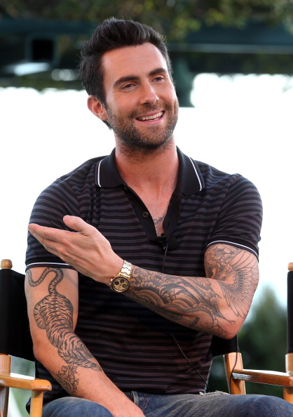 ". LOS ANGELES, CA - AUGUST 12:  The Voice\'s Adam Levine attends the NBCUniversal\'s ""The Voice\"" Press Junket and cocktail reception on August 12, 2012 in Los Angeles, California.  (Photo by Christopher Polk/Getty Images for NBCUniversal)"