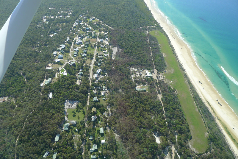 Orchid Beach and its airstrip, glorious big blue day.