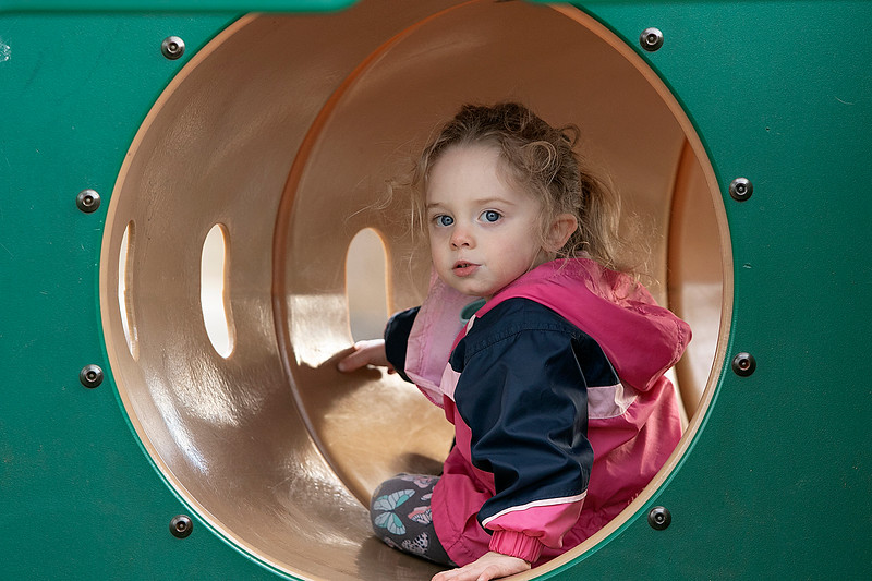 The good weather on Tuesday, March 10, 2020 brought many out to have fun at Parkhill Park in Fitchburg. Hannah Xarras, 2, of Fitchburg had fun playing on the playground equipment at the park. SENTINEL & ENTERPRISE/JOHN LOVE