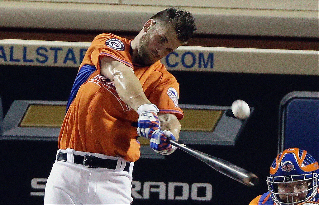 . National League\'s Bryce Harper of the Washington Nationals hits during the MLB All-Star baseball Home Run Derby, Monday, July 15, 2013, in New York. (AP Photo/Frank Franklin II)