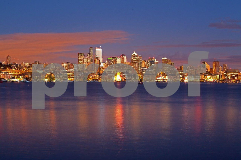 View south from Gasworks Park to Lake Union and downtown Seattle