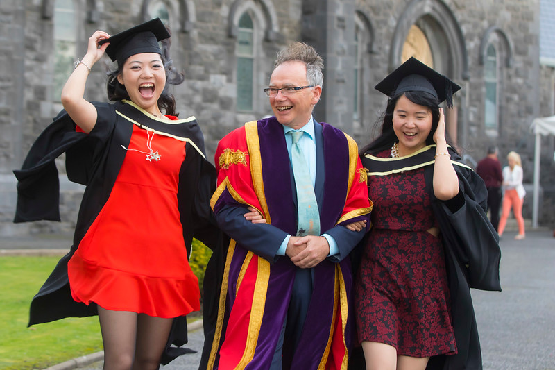 WIT (Waterford Institute of Technology) conferring ceremony at WIT College Street Campus, Waterford. Pictured with WIT President Prof Willie Donnelly, are Master of Arts in Teaching & Learning in Further & Higher Education, are from left Fei Kang (Limerick) and Yunqi Jing (Waterford). Picture: Patrick Browne