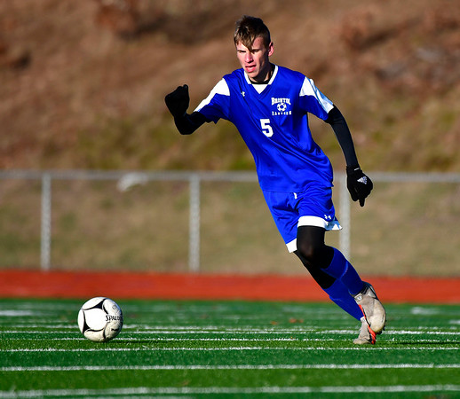 11/13/2019 Mike Orazzi | StaffrBristol Eastern's Adam Borry (5) during the Class L Second Round boys soccer tournament with Bunnell High School in Bristol on Wednesday.