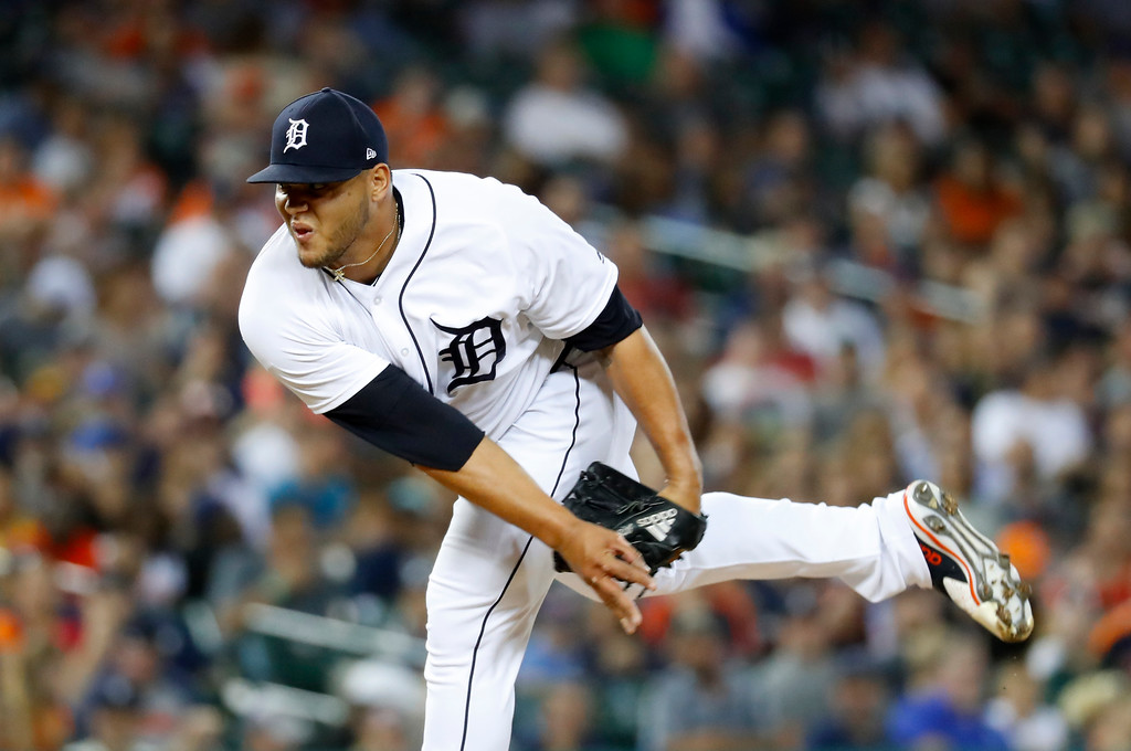 . Detroit Tigers relief pitcher Joe Jimenez throws against the Cleveland Indians in the eighth inning of a baseball game in Detroit, Friday, July 27, 2018. (AP Photo/Paul Sancya)