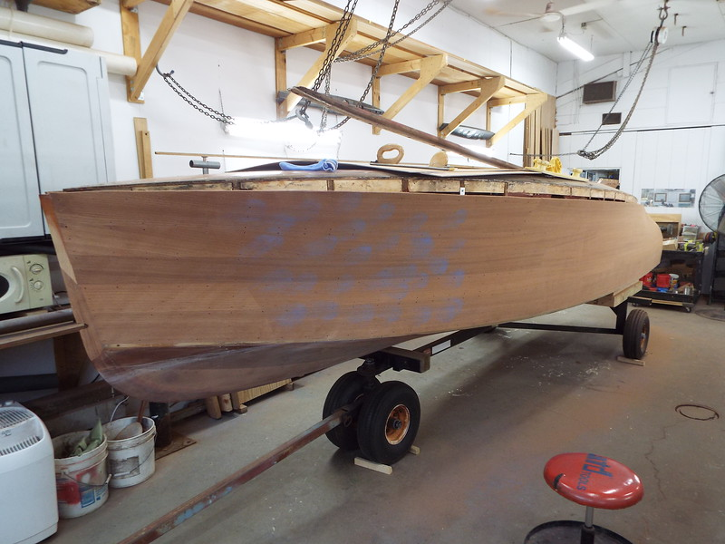 Port being hand sanded for the first time out of three.