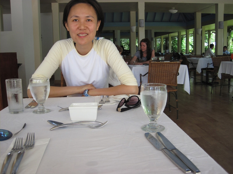 Waiting for lunch at the Cove Restaurant.