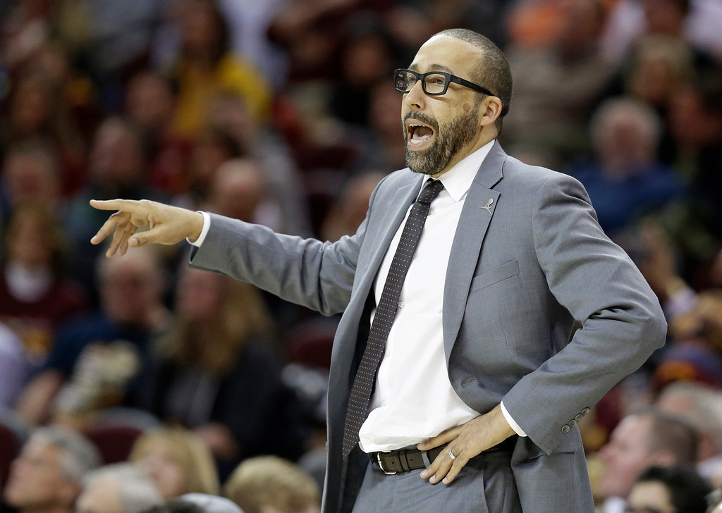 . Memphis Grizzlies head coach David Fizdale yells to players in the second half of an NBA basketball game against the Cleveland Cavaliers, Tuesday, Dec. 13, 2016, in Cleveland. The Cavaliers won 103-86. (AP Photo/Tony Dejak)