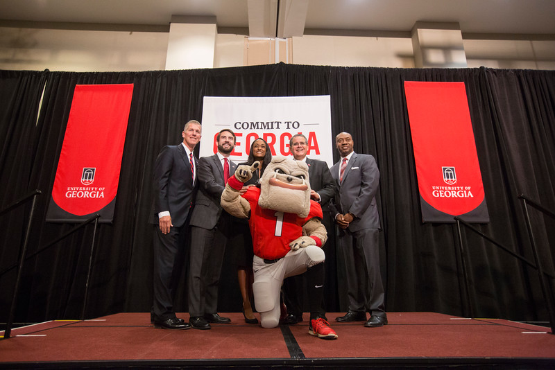 Description: Capital Campaign Athens Kickoff Student & Speaker Group - Hairy Dawg - Houston Gaines - Kelly Kerner - Jere Morehead - Ashitha Rajeurs - Marshall ShepherdDate of Photo: 11/10/2016Credit: Peter Frey, University of GeorgiaPhotographic Services File: 34394-008The University of Georgia owns the rights to this image or has permission to redistribute this image. Permission to use this image is granted for internal UGA publications and promotions and for a one-time use for news purposes. Separate permission and payment of a fee is required to use any image for any other purpose, including but not limited to, commercial, advertising or illustrative purposes. Unauthorized use of any of these copyrighted photographs is unlawful and may subject the user to civil and criminal penalties. Possession of this image signifies agreement to all the terms described above.