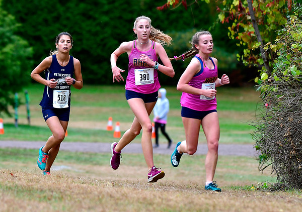 10/16/2019 Mike Orazzi | StaffrRHAM High School's Isabelle Mondo (380) during the girls CCC XC Championship held at Wickham Park in Manchester on Wednesday.