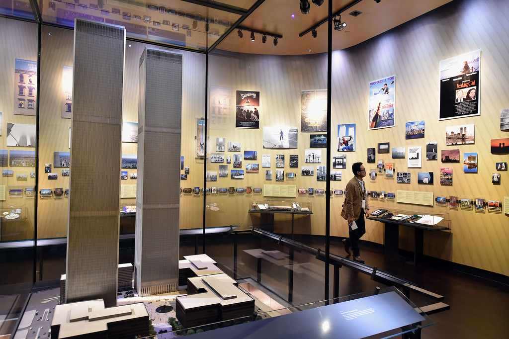 . A model of the World Trade Center buildings, seen during a press preview in the National September 11 Memorial Museum at the World Trade Center site May 14, 2014 in New York. AFP PHOTO/Stan HONDA/AFP/Getty Images