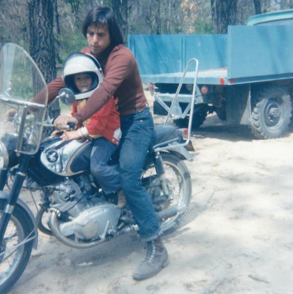 Eric on my 1966 Honda Superhawk in Donna's yard near Hastings.
