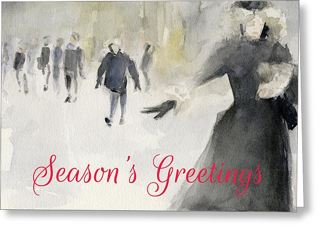 Walking In The Snow New York City Christmas Card by Artist Beverly Brown