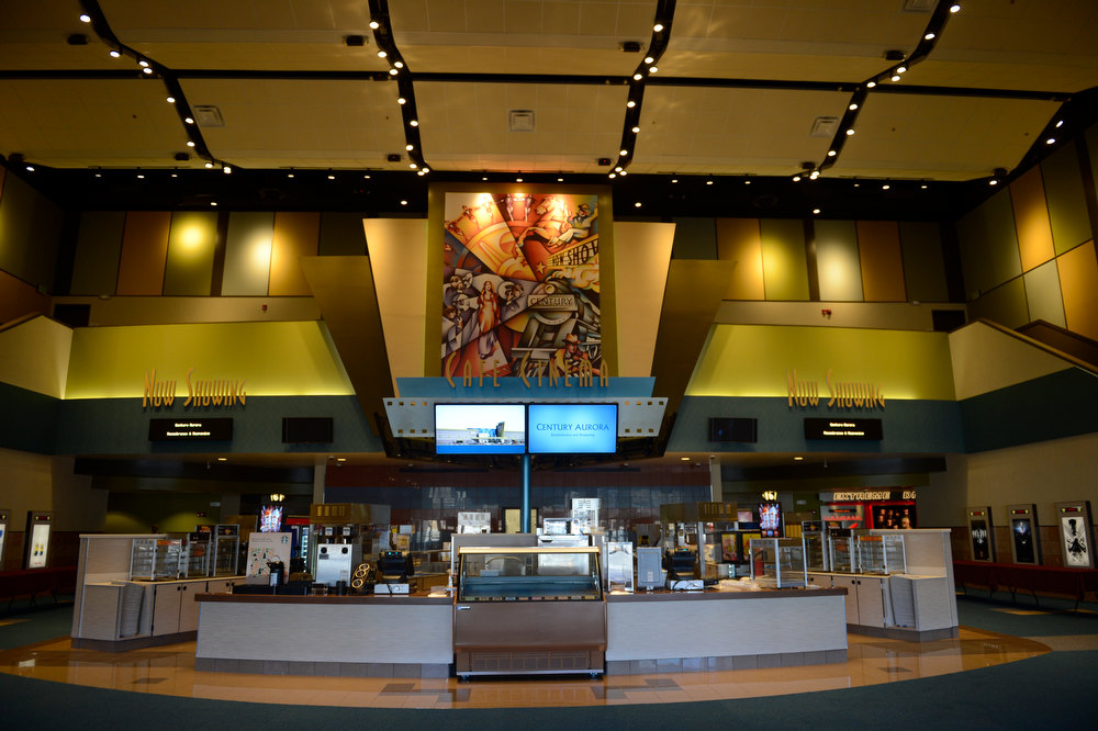 Description of . Aurora , CO. - January 17: The new lobby of the Century Aurora Theater before the reopening and remembrance for the victims where suspect James Holmes is accused of killing 12 people and wounding 70 others onFriday, July 20, 2012 in Aurora, Colorado, January 17,  2013. (Photo By Joe Amon / The Denver Post)