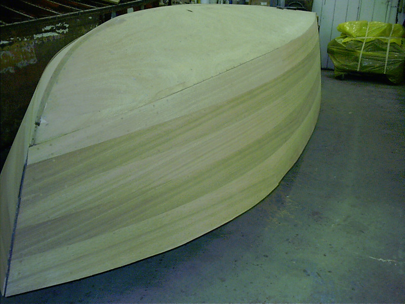 Starboard front view of plugs cut and side farred and sanded.