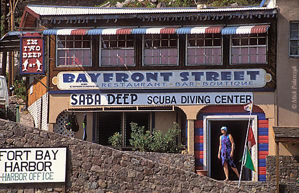 [ANTILLES.SABA 25.515] 'Diving shop'. Diving shop at Fort Bay Harbor, the small port at Saba's southwestern tip. Photo Mick Palarczyk.