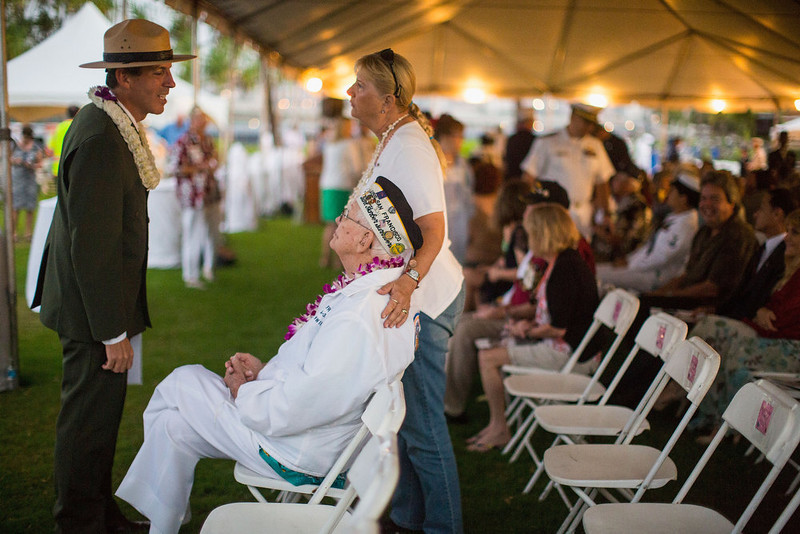 . National Parks Service Memorial Superintendent Paul DePrey greets veteran Edgar Harrison of California at the 71st Annual Memorial Ceremony commemorating the WWII Attack On Pearl Harbor at the World War 2 Valor in the Pacific National Monument December 7, 2012 in Pearl Harbor, Hawaii. This is the 71st anniversary of the Japanese attack on pearl Harbor.  (Photo by Kent Nishimura/Getty Images)