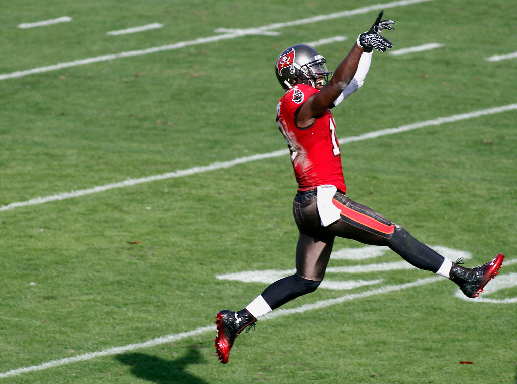 . Tampa Bay Buccaneers wide receiver Mike Williams (19) celebrates after his third quarter touchdown against the Philadelphia Eagles during  NFL football game Sunday, Dec. 9, 2012, in Tampa, Fla. (AP Photo/Reinhold Matay)