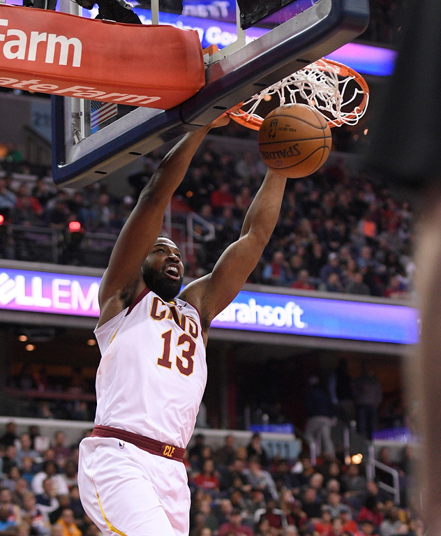 . Cleveland Cavaliers center Tristan Thompson (13) dunks during the first half of an NBA basketball game against the Washington Wizards, Sunday, Dec. 17, 2017, in Washington. (AP Photo/Nick Wass)