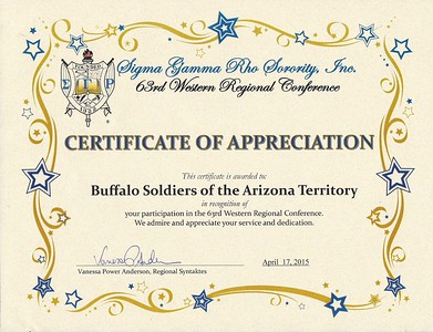 ARIZONA BUFFALO SOLDIERS, MESA, AZ. Sigma Gamma Rho Sorority, Inc., 63rd Western Regional Conference, Phoenix, AZ.  Buffalo Soldiers of the Arizona Territory - LGR.  Opening Ceremony: Posting Colors.  April 17, 2015