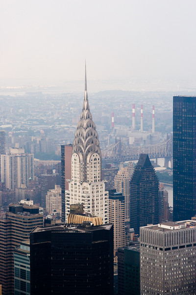 The Chrysler Building, as seen from the Empire State Building, New York. What's interesting to me, besides the new buildings is how much better the visiblity was on the day of my 1984 visit. (You can see much more clearly into the distance, and the overall contrast is better. The 2007 visit was a hazy day, no question.)