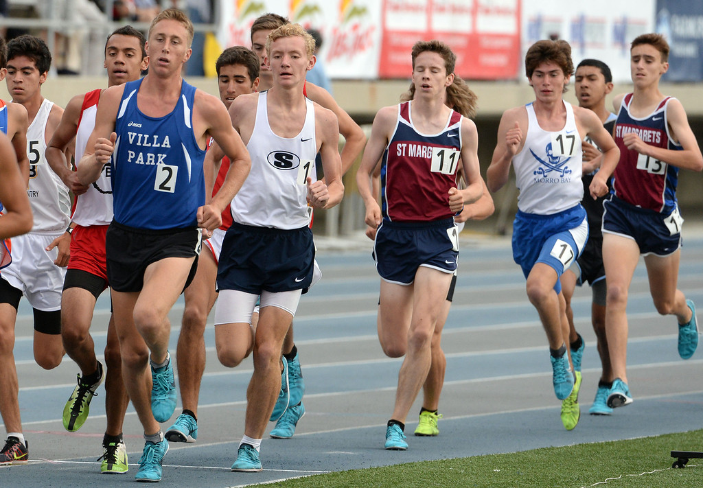. Saugus\'s  Brian Zabilski, second from left, competes in the division 2 3200 meter run during the CIF Southern Section track and final Championships at Cerritos College in Norwalk, Calif., Saturday, May 24, 2014.   (Keith Birmingham/Pasadena Star-News)
