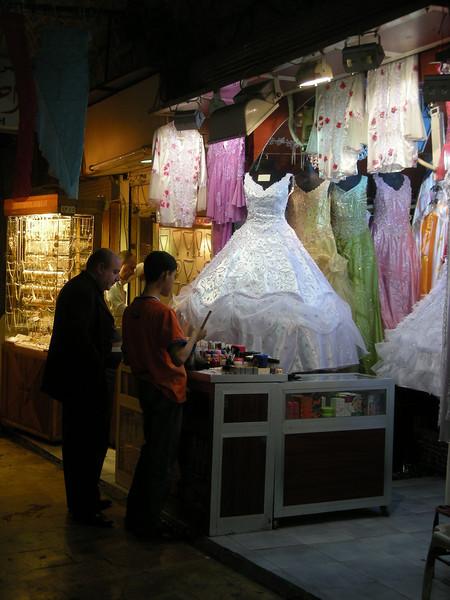 a fancy dress shop in the Aleppo souq