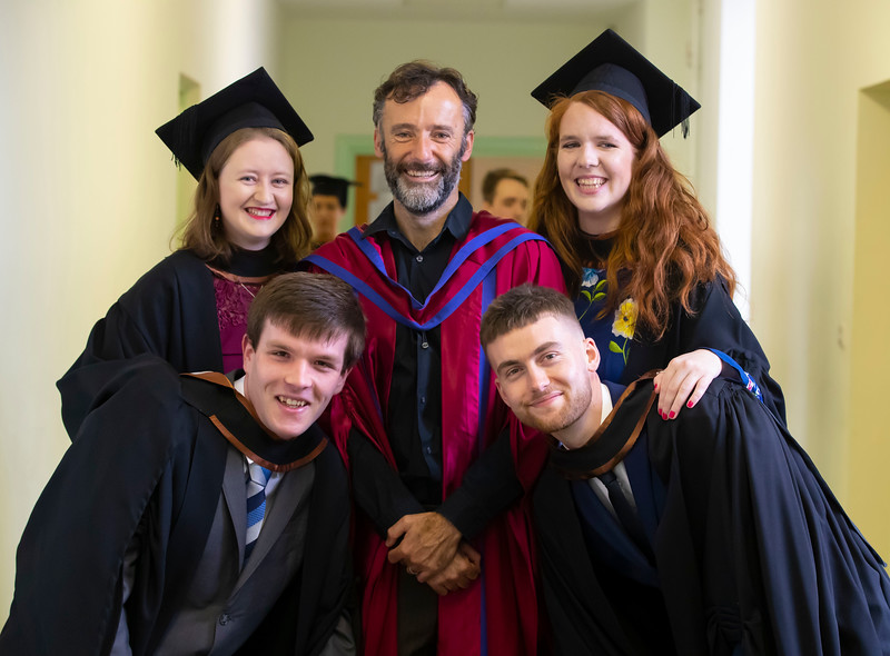 01/11/2019. Waterford Institute of Technology (WIT) Conferring Ceremonies. Pictured are Conor Farrell, Kilsheelan, Emma Ní Bhriain, Ballygunner, Dr. Frank Walsh, Tramore, Rachel Lawton, Tramore and Luke Halley Kilmacthomas. Picture: Patrick Browne