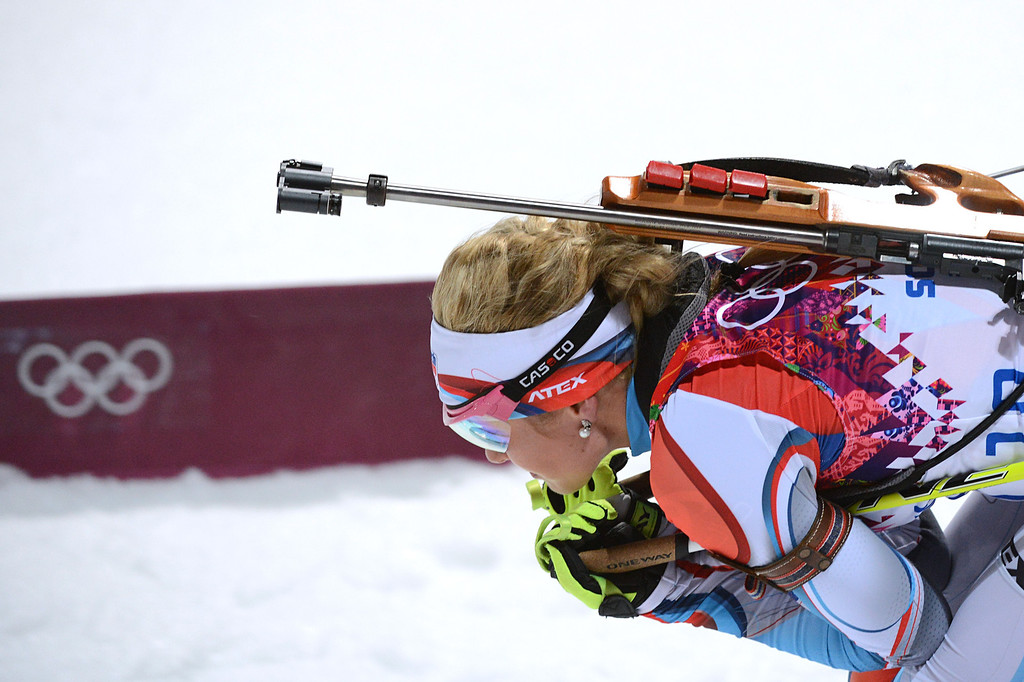 . Czech Republic\'s Gabriela Soukalova competes to win silver in the Women\'s Biathlon 12,5 km Mass Start at the Laura Cross-Country Ski and Biathlon Center during the Sochi Winter Olympics on February 17, 2014, in Rosa Kuthor, near Sochi.  AFP PHOTO / KIRILL  KUDRYAVTSEV/AFP/Getty Images